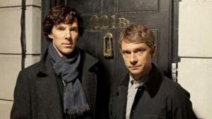 Martin Freeman (right) and Sherlock co-star Benedict Cumberbatch (left)