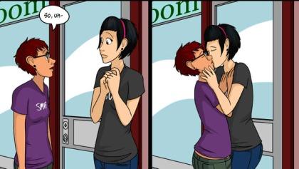 Dora and Tai kiss