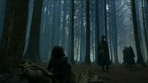 Jojen and Meera Reed confronting Bran, Osha, and Summer.