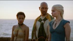 Missandei smooths over Kraznys's crude language to Daenerys.