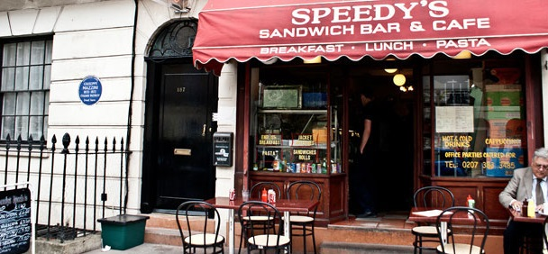 Speedy's Cafe, the location of today's filming.