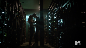 Teen_Wolf_Season_3_Episode_2_Dylan_O'Brien_Caitlin_Custer_Stiles_and_Heather_in_the_wine_cellar